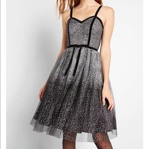 ModCloth x Collectif Stun and Done Fit and Flare Dress Silver Black